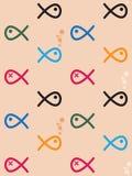 Безшовной рыбы покрашенные картиной Стоковое Изображение