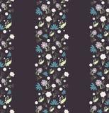 Безшовной цветочный узор нарисованный рукой, темная предпосылка с малым s иллюстрация штока
