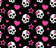 Безшовно с сердцами и черепами Стоковая Фотография