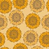 Безшовные абстрактные нарисованные вручную арабские картина doddle, желтый цвет, и цвет коричневого цвета Стоковые Изображения RF