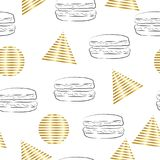 Безшовные абстрактные треугольники и картина кругов с иллюстрацией гамбургера Стоковое Изображение RF