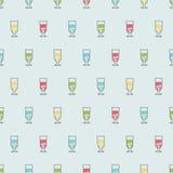 Безшовные алкогольные напитки предпосылки картины Вектор спирта Стекла с красочными пить Стоковые Фотографии RF