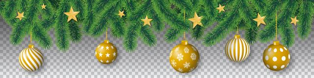 Безшовные ветви хвойного дерева вектора с листьями иглы, звездами и вися шариками рождества на прозрачной предпосылке бесплатная иллюстрация