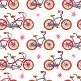 Безшовные винтажные велосипеды Стоковая Фотография