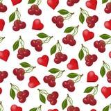 Безшовные вишни и Харты картины Стоковые Фотографии RF