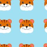 Безшовные головы картины тигра Иллюстрация безшовной картины с животным иллюстрация штока