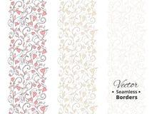 Безшовные границы влюбленности, wedding цветочный узор с сердцами Tileable, можно инфинитно повторить Стоковая Фотография