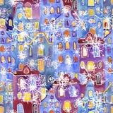 Безшовные дома Амстердама акварели картины Стоковое Фото