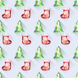 Безшовные деревья и картина рождества носок Стоковая Фотография RF