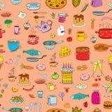 Безшовные еда и изделия предпосылки в стиле doodle бесплатная иллюстрация