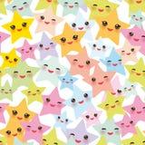Безшовные звезды Kawaii картины установили, сторона с пастельными цветами глаз, мальчиков и девушек розовыми зелеными голубыми фи Стоковая Фотография