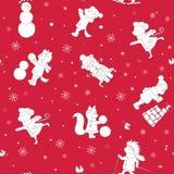 Безшовные звери леса на предпосылке зимы Fox, медведь, еж, белка, мышь приниматься спорт зимы Стоковая Фотография
