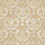 Безшовные золотые флористические обои штофа Стоковое Изображение