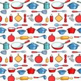 Безшовные изделия кухни шаржа картины бесплатная иллюстрация