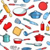 Безшовные изделия кухни шаржа картины иллюстрация вектора