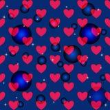 Безшовные иллюстрации с сердцами и воздушными шарами Стоковые Изображения