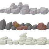 Безшовные камни и мост шаржа для игрового дизайна Элементы вектора Стоковая Фотография