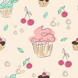 Безшовные картина, вишни, мята и пирожные иллюстрация штока