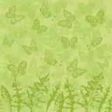 Безшовные картина, листья и бабочки Стоковое фото RF