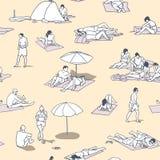 Безшовные картина/предпосылка/текстура при люди загорая на песке приставают к берегу с винтажными цветами Стоковые Фото