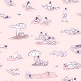 Безшовные картина/предпосылка/текстура при люди загорая на песке приставают к берегу с винтажными цветами Стоковая Фотография RF