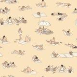 Безшовные картина/предпосылка/текстура при люди загорая на песке приставают к берегу с винтажными цветами Стоковые Фотографии RF