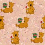 Безшовные картина, плюшевые медвежоата и цветки подарков Стоковые Изображения RF