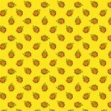 Безшовные картина с пламенем и горячий на желтой предпосылке точки польки Стиль искусства попа иллюстрация вектора