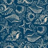 Безшовные картина, seashells, морские звёзды и кораллы Стоковое фото RF