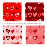 Безшовные картины с красными и розовыми сердцами иллюстрация штока