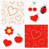 Безшовные картины с сердцами и стикерами Стоковые Фотографии RF