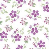 Безшовные картины с цветками акварели Стоковое Изображение RF