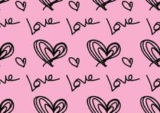 Безшовные картины с черными сердцами, предпосылкой любов, вектором формы сердца, днем Святого Валентина, текстурой, тканью, обоям стоковое изображение rf