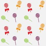 Безшовные конфеты картина леденца на палочке, предпосылка вектора иллюстрация вектора