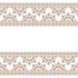 Безшовные коричневые элементы границы mehndi картины с цветками для татуировки или карты в индийском стиле на белой предпосылке иллюстрация вектора