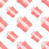 Безшовные коробки картины с подарками на белой любов предпосылки стоковая фотография rf