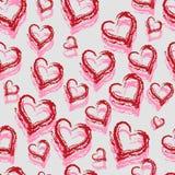 Безшовные красные сердца Стоковая Фотография