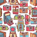 Безшовные красочные винтажные камеры иллюстрация вектора