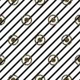 Безшовные круги и картина нашивок черно-белая иллюстрация вектора