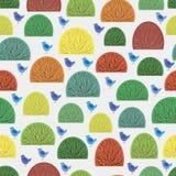 Безшовные кусты и голубые птицы иллюстрация штока