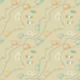 Безшовные милые тележки цвета, моя первая картина автомобиля на backgr цвета Стоковые Фото