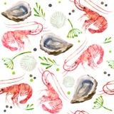 Безшовные морепродукты картины Красные креветки, раковины, устрицы и пряная иллюстрация акварели трав иллюстрация вектора