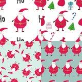Безшовные нарисованные вручную комплекты картин рождества Printable шаблоны Стоковое Изображение
