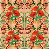 Безшовные обои мака в стиле nouveau искусства Стоковые Изображения