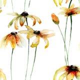 Безшовные обои с желтыми цветками Gerber иллюстрация штока