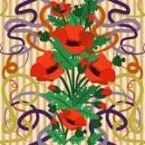 Безшовные обои с маком цветут в стиле nouveau искусства, иллюстрации вектора Стоковое Фото