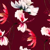 Безшовные обои с полевыми цветками Стоковое Изображение