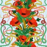 Безшовные обои с пшеницей и маком цветут в стиле nouveau искусства Стоковое фото RF