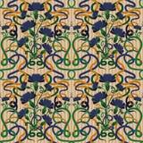 Безшовные обои с синью cornflower в стиле nouveau искусства Стоковые Изображения RF