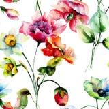 Безшовные обои с цветками весны Стоковая Фотография RF